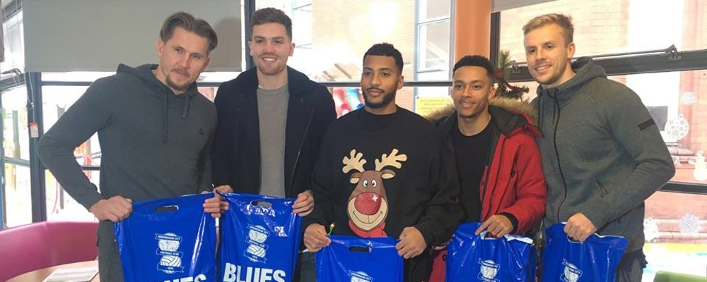 Birmingham City players and No5 Chambers spread Christmas cheer at Birmingham Children's Hospital